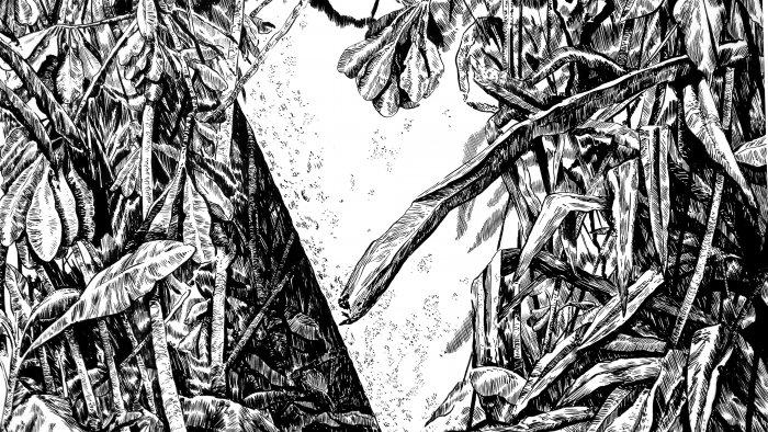 Dibujo experimental con tinta china y acrílico sobre papel