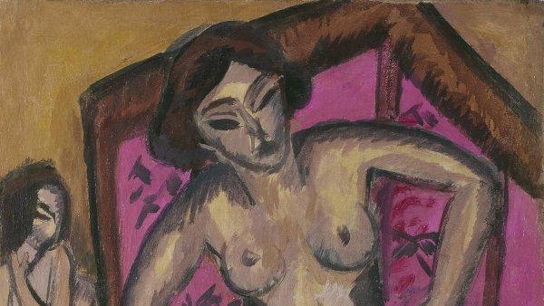 Desnudo de rodillas ante un biombo rojo (reverso: Desnudo sentado con pierna doblada). Ernst Ludwig Kirchner