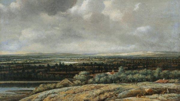 Vista panorámica con ciudad al fondo. Philips Koninck