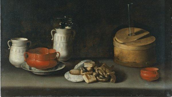 Bodegón con loza y dulces. Juan van der Hamen y león
