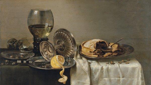 Bodegón con pastel de frutas y diversos objetos. Willem Claesz. Heda