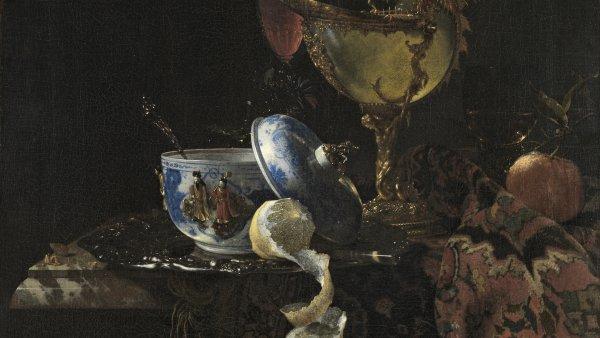 Bodegón con cuenco chino, copa nautilo y otros objetos. Willem Kalf