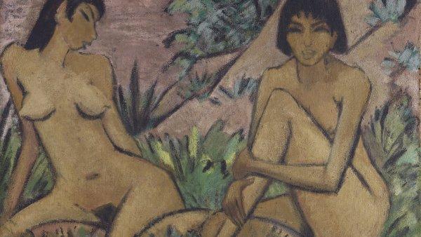 Dos desnudos femeninos en un paisaje. Otto Müller