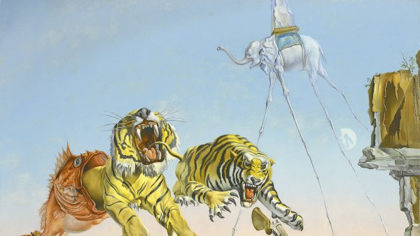 Sueño causado por el vuelo de una abeja alrededor de una granada un segundo antes del despertar. Salvador Dalí