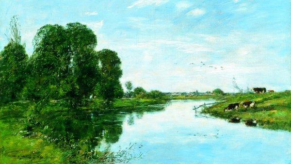 El río Touques en Saint-Arnoult. Eugène Boudin